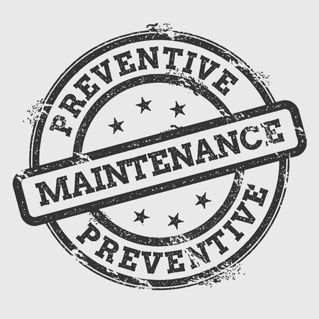 Preventive maintenance rubber stamp isolated on white background. Grunge round seal with text, ink texture and splatter and blots, vector illustration.