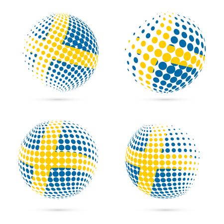 Sweden halftone flag set patriotic vector design. 3D halftone sphere in Sweden national flag colors isolated on white background.