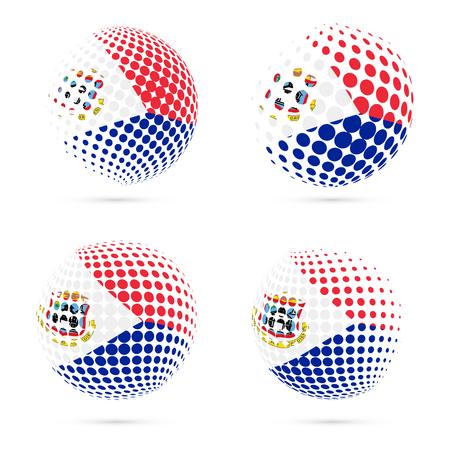 Halftone de vlag vastgesteld patriottisch vectorontwerp van Sint Maarten. 3D halftone bol in nationale de vlagkleuren van Sint Maarten die op witte achtergrond worden geïsoleerd. Stockfoto - 80402062