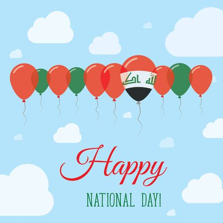 Iraq National Day Flat Patriotic Poster. Row of Balloons in Colors of the Iraqi flag. Happy National Day Card with Flags, Balloons, Clouds and Sky.