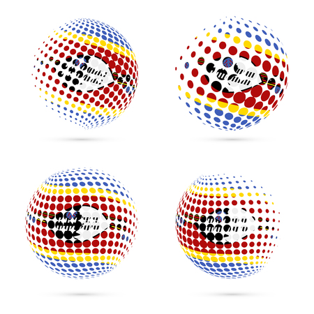 Swaziland halftone flag set patriotic vector design. 3D halftone sphere in Swaziland national flag colors isolated on white background.