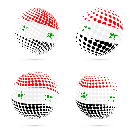 foreign national: Syria halftone flag set patriotic vector design. 3D halftone sphere in Syria national flag colors isolated on white background.