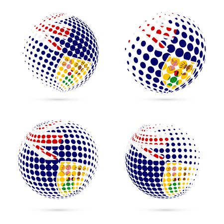 Turks and Caicos halftone flag set patriotic vector design. 3D halftone sphere in Turks and Caicos national flag colors isolated on white background.