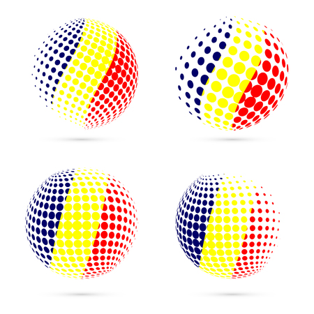 Chad halftone flag set patriotic vector design. 3D halftone sphere in Chad national flag colors isolated on white background.
