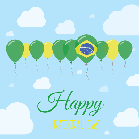 polychrome: Brazil National Day Flat Patriotic Poster. Row of Balloons in Colors of the Brazilian flag. Happy National Day Card with Flags, Balloons, Clouds and Sky.
