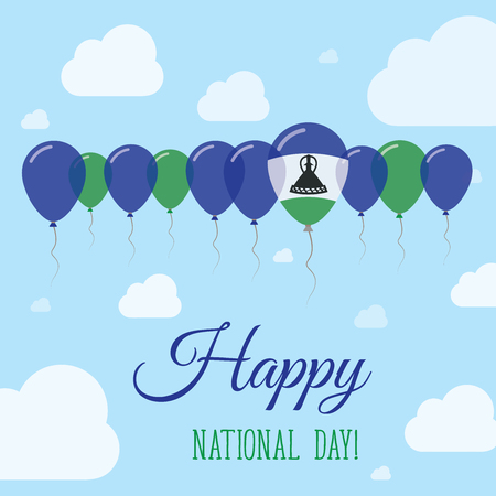 Lesotho National Day Flat Patriotic Poster. Row of Balloons in Colors of the Mosotho flag. Happy National Day Card with Flags, Balloons, Clouds and Sky.