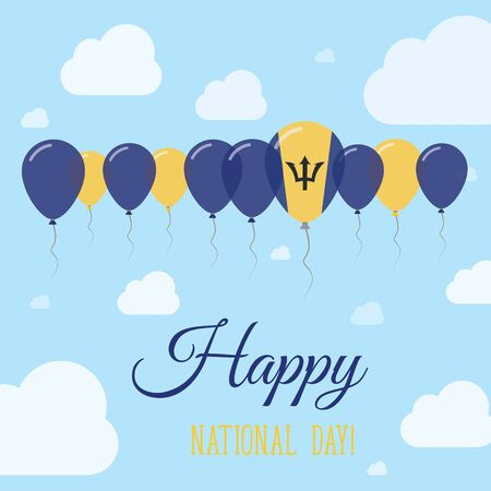 Barbados National Day flat patriotic poster with row of balloons in colors of the Barbadian flag.