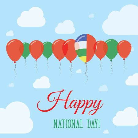 autonomía: Central African Republic National Day Flat Patriotic Poster. Row of Balloons in Colors of the Central African flag. Happy National Day Card with Flags, Balloons, Clouds and Sky.