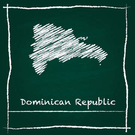 clutter: Dominican Republic outline vector map hand drawn with chalk on a green blackboard. Chalkboard scribble in childish style. White chalk texture on green background. Illustration