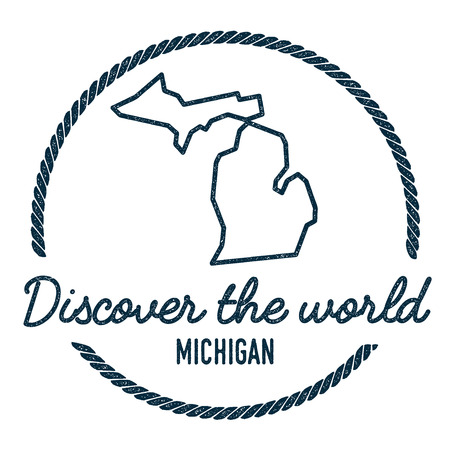 Michigan Map Outline. Vintage Discover the World Rubber Stamp with Michigan Map. Hipster Style Nautical Rubber Stamp, with Round Rope Border. USA State Map Vector Illustration.