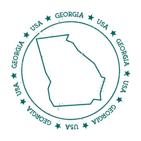 autograph: Georgia vector map. Retro vintage insignia with US state map. Distressed visa stamp with Georgia text wrapped around a circle and stars. USA state map vector illustration.