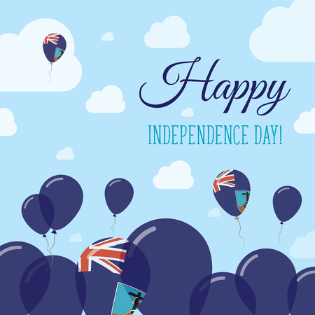 Montserrat Independence Day Flat Patriotic Design. Montserratian Flag Balloons. Happy National Day Vector Card. Illustration