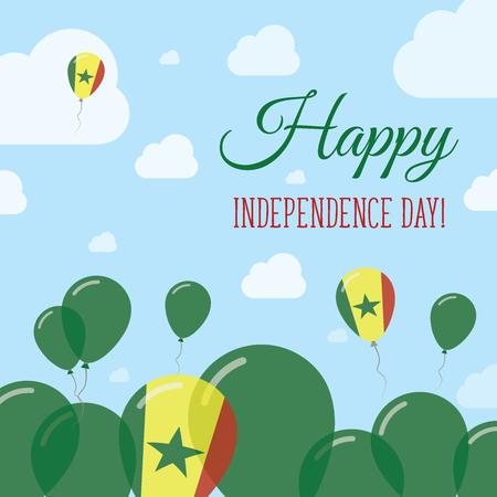 Senegal Independence Day Flat Patriotic Design. Palloncini bandiera senegalese. Scheda di vettore felice giorno nazionale.