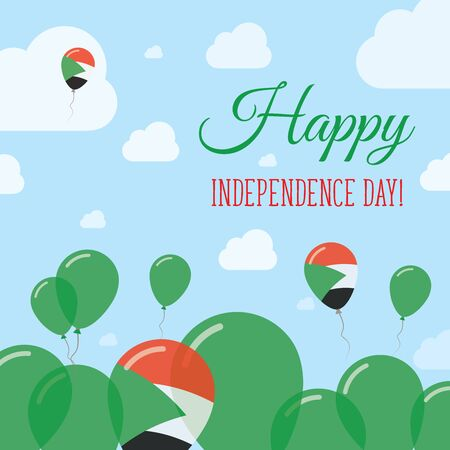 pied: Sudan Independence Day Flat Patriotic Design. Sudanese Flag Balloons. Happy National Day Vector Card.