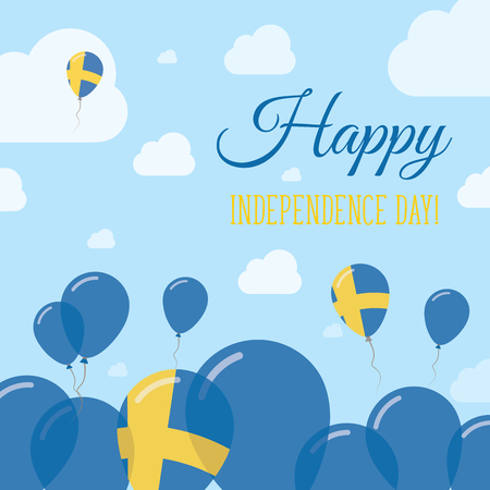 Sweden Independence Day Flat Patriotic Design. Swedish Flag Balloons. Happy National Day Vector Card.
