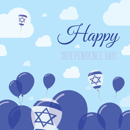 Israel Independence Day Flat Patriotic Design. Israeli Flag Balloons. Happy National Day Vector Card.