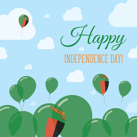 independency: Zambia Independence Day Flat Patriotic Design. Zambian Flag Balloons. Happy National Day Vector Card.