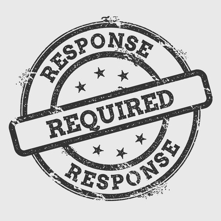 response time: Response required rubber stamp isolated on white background. Grunge round seal with text, ink texture and splatter and blots, vector illustration. Illustration