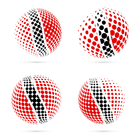 Trinidad and Tobago halftone flag set patriotic vector design. 3D halftone sphere in Trinidad and Tobago national flag colors isolated on white background. Illustration