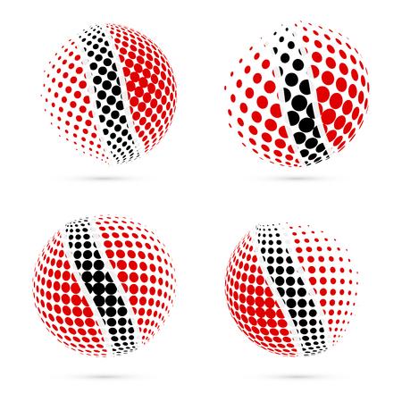 port of spain: Trinidad and Tobago halftone flag set patriotic vector design. 3D halftone sphere in Trinidad and Tobago national flag colors isolated on white background. Illustration