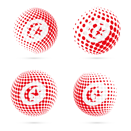 Tunisia halftone flag set patriotic vector design. 3D halftone sphere in Tunisia national flag colors isolated on white background.