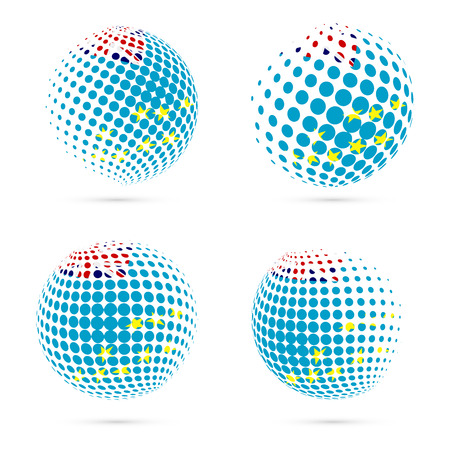 streamers: Tuvalu halftone flag set patriotic vector design. 3D halftone sphere in Tuvalu national flag colors isolated on white background.
