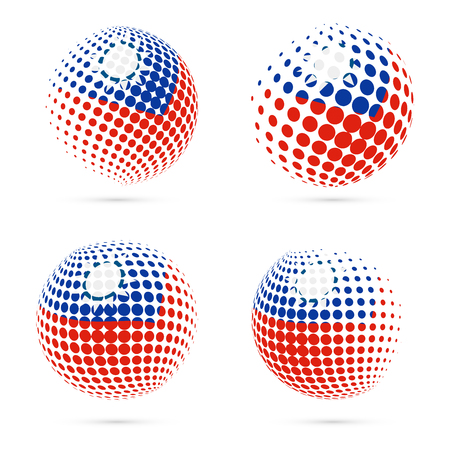 streamers: Taiwan halftone flag set patriotic vector design. 3D halftone sphere in Taiwan national flag colors isolated on white background.