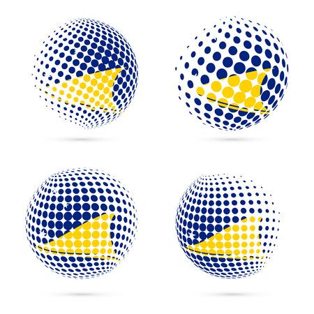 streamers: Tokelau halftone flag set patriotic vector design. 3D halftone sphere in Tokelau national flag colors isolated on white background. Illustration