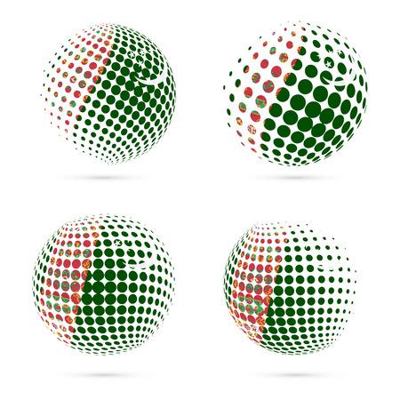 exploring: Turkmenistan halftone flag set patriotic vector design. 3D halftone sphere in Turkmenistan national flag colors isolated on white background. Illustration