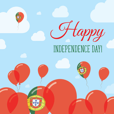 Portugal Independence Day Flat Patriotic Design. Portuguese Flag Balloons. Happy National Day Vector Card.