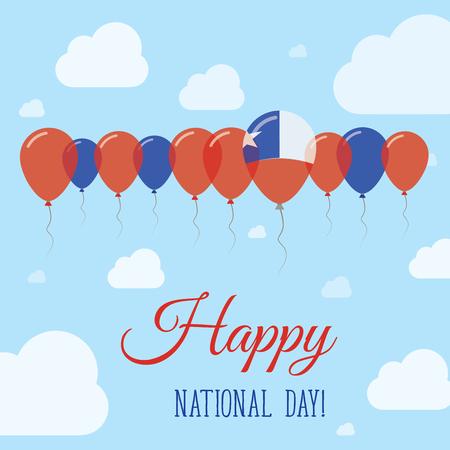 bandera chilena: Cartel patriótico plano del día nacional de Chile. Fila de globos en colores de la bandera chilena. Tarjeta feliz del día nacional con las banderas, los globos, las nubes y el cielo.