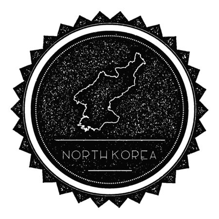 overseas: Korea, Democratic Peoples Republic Of Map Label with Retro Vintage Styled Design. Hipster Grungy Korea, Democratic Peoples Republic Of Map Insignia Vector Illustration. Country round sticker. Illustration