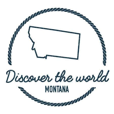 montana map outline vintage discover the world rubber stamp