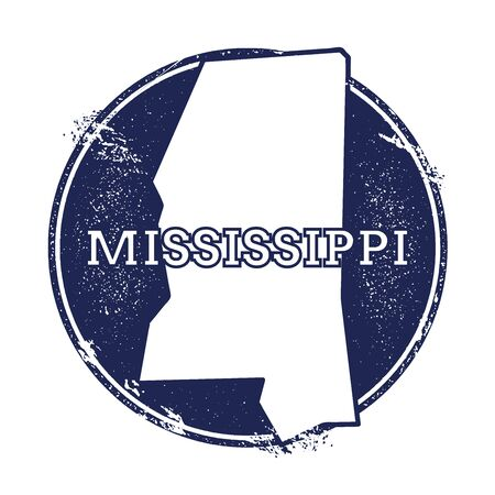 Mississippi vector map. Grunge rubber stamp with the name and map of Mississippi, vector illustration. Can be used as insignia, logotype, label, sticker or badge of USA state.