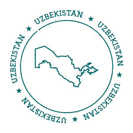 Uzbekistan vector map. Retro vintage insignia with country map. Distressed visa stamp with Uzbekistan text wrapped around a circle and stars. USA state map vector illustration.