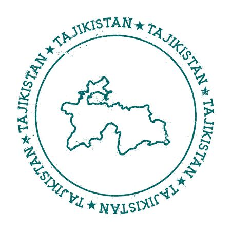 Tajikistan vector map. Retro vintage insignia with country map. Distressed visa stamp with Tajikistan text wrapped around a circle and stars. USA state map vector illustration.
