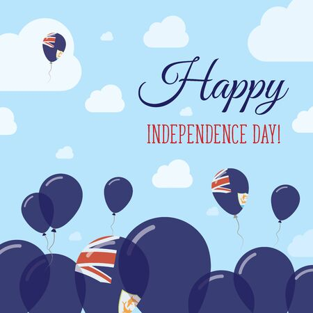 polychrome: Anguilla Independence Day Flat Patriotic Design. Anguillian Flag Balloons. Happy National Day Vector Card.