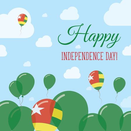Togo Independence Day Flat Patriotic Design. Togolese Flag Balloons. Happy National Day Vector Card.