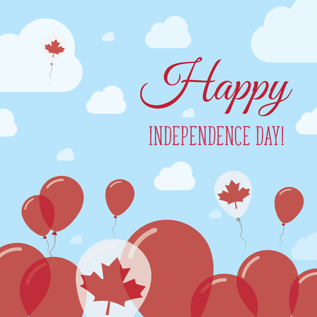 Canada Independence Day Flat Patriotic Design. Canadian Flag Balloons. Happy National Day Vector Card.