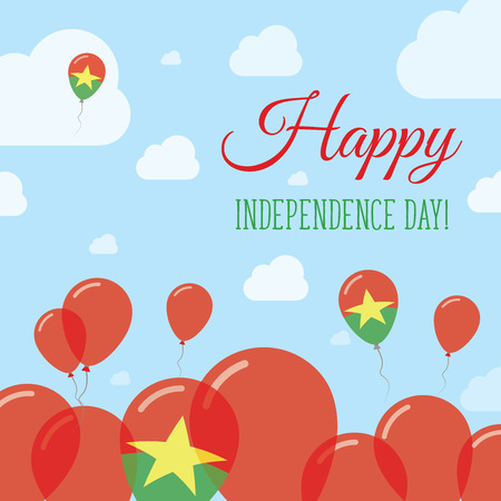 Burkina Faso Independence Day Flat Patriotic Design. Burkinabe Flag Balloons. Happy National Day Vector Card.