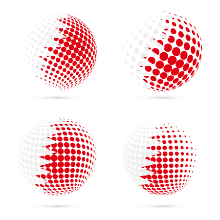 exploring: Bahrain halftone flag set patriotic vector design. 3D halftone sphere in Bahrain national flag colors isolated on white background.