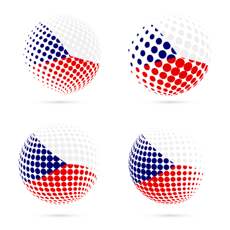 Czech Republic halftone flag set patriotic vector design. 3D halftone sphere in Czech Republic national flag colors isolated on white background.