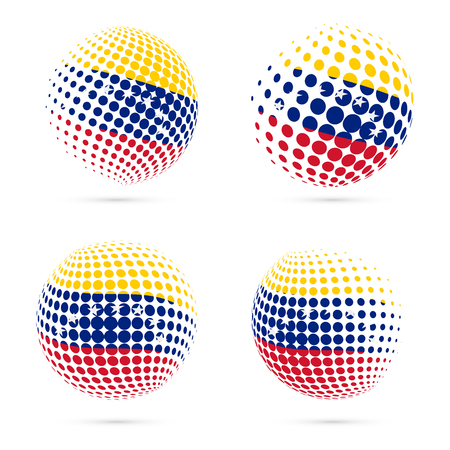 Venezuela halftone flag set patriotic vector design. 3D halftone sphere in Venezuela national flag colors isolated on white background. Illustration