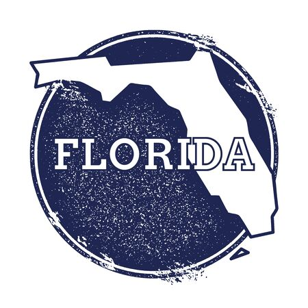 Florida vector map. Grunge rubber stamp with the name and map of Florida, vector illustration. Can be used as insignia, logotype, label, sticker or badge of USA state.