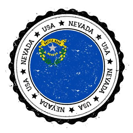 Nevada flag badge. Grunge rubber stamp with Nevada flag. Vintage travel stamp with circular text, stars and USA state flag inside it. Vector illustration. Illusztráció