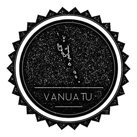 Vanuatu Map Label with Retro Vintage Styled Design. Hipster Grungy Vanuatu Map Insignia Vector Illustration. Country round sticker.