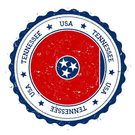 Tennessee flag badge. Grunge rubber stamp with Tennessee flag. Vintage travel stamp with circular text, stars and USA state flag inside it. Vector illustration. Иллюстрация