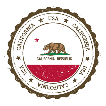California flag badge. Grunge rubber stamp with California flag. Vintage travel stamp with circular text, stars and USA state flag inside it. Vector illustration.