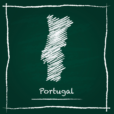 erasing: Portugal outline vector map hand drawn with chalk on a green blackboard. Chalkboard scribble in childish style. White chalk texture on green background.