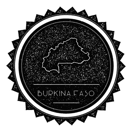 wanderlust: Burkina Faso Map Label with Retro Vintage Styled Design. Hipster Grungy Burkina Faso Map Insignia Vector Illustration. Country round sticker.